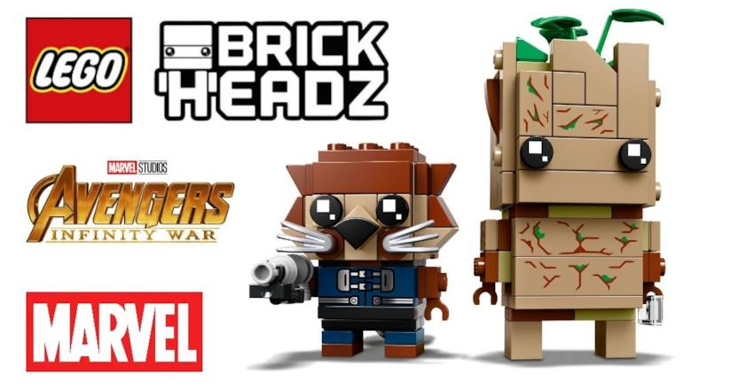 Groot e Rocket Raccoon nella versione LEGO BrickHeadz