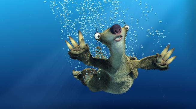 Sid in acqua in una scena della saga de L'era glaciale