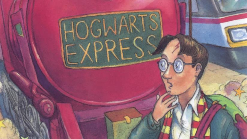 Una illustrazione di Harry Potter accanto al famoso treno per Hogwarts