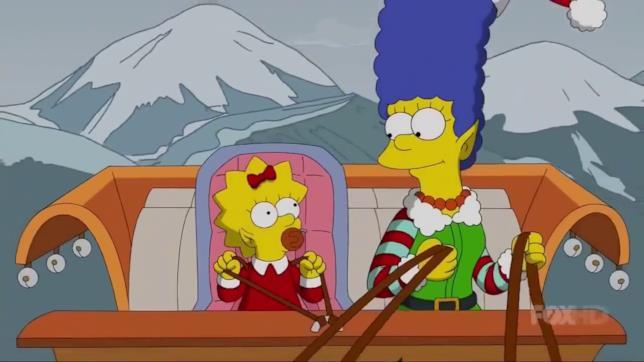 Marge e Maggie sulla slitta nella Gag del divano Natale 2017