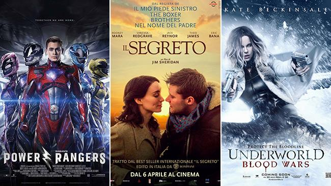 Le locandine dei film Power Rangers, Il Segreto e Underworld: Blood Wars