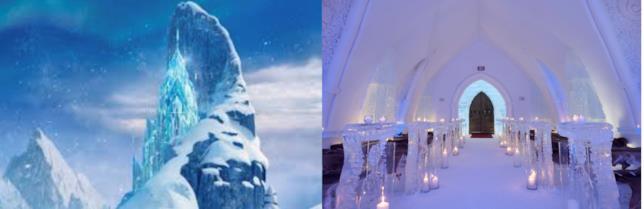 Il castello di Frozen e l'interno dell'Hotel de Glace a confronto