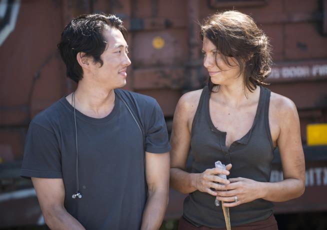 Steven Yeun e Lauren Cohan in The Walking Dead