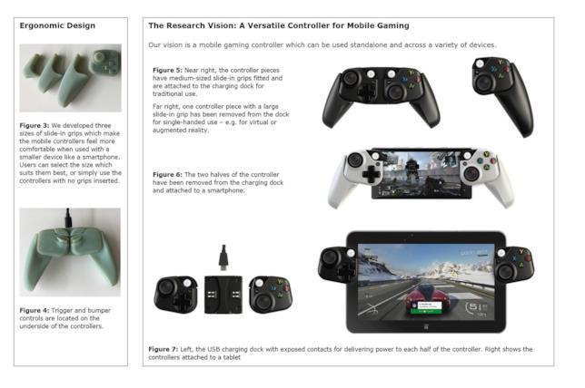 Una copia del documento di Microsoft Research con le immagini del prototipo del controller per smartphone e tablet