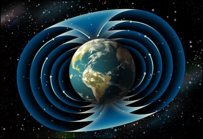 Una rappresentazione del campo magnetico terrestre