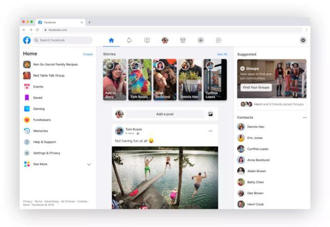 Immagine stampa del nuovo design di Facebook presentato alla conferenza F8 2019