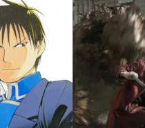 Roy Mustang nel manga e una scena del live-action di Hagaren