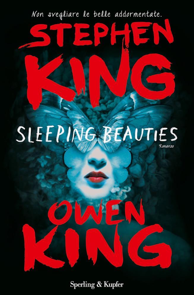la copertina di Sleeping Beauties con una donna dal viso coperto di farfalle