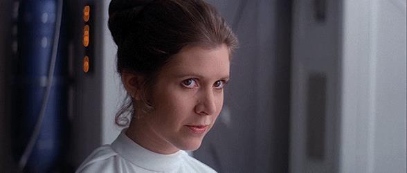 Gif della Principessa Leila che sorride in Star Wars