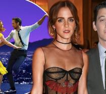 Emma Watson e Miles Teller sullo sfondo di La La Land