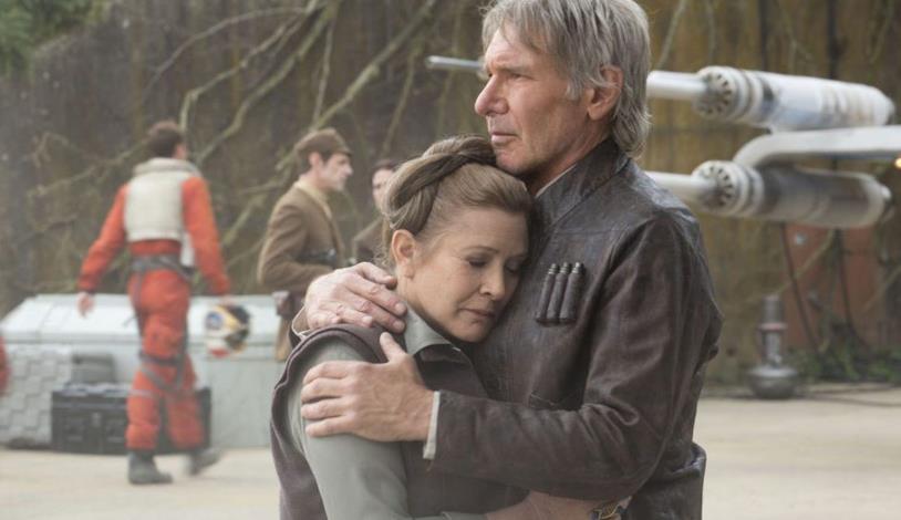 Carrie Fisher e Harrison Ford in Star Wars: Il risveglio della Forza