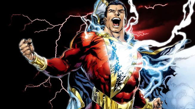 Vignetta disegnata del mezzobusto di Shazam che viene colpito dal fulmine magico