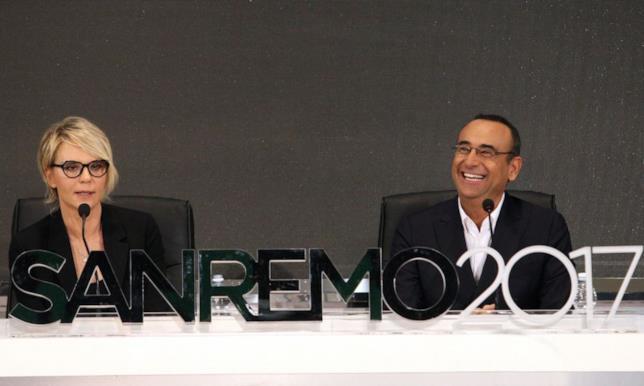 Carlo Conti e Maria De Filippi in conferenza stampa a Sanremo
