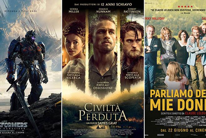 I poster dei film Transformers: L'Ultimo Cavaliere, Civiltà Perduta e Parliamo delle Mie Donne