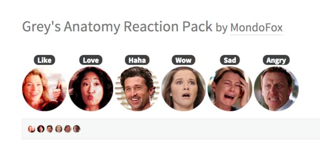 Le Reaction di Facebook con i personaggi di  Grey's Anatomy
