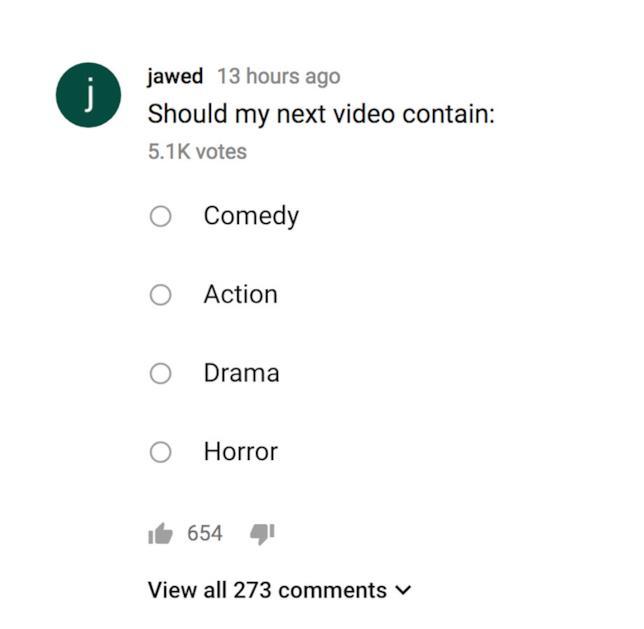 Schermata che mostra il secondo sondaggio creato da Jawed Karim sul suo canale YouTube
