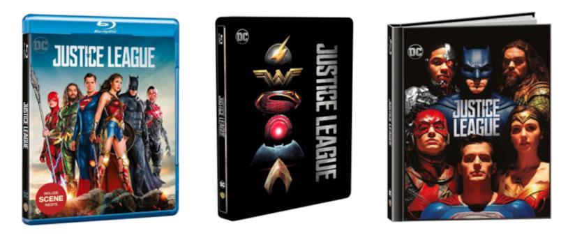 Justice League in Blu-ray, Blu-ray steelbook e Blu-ray Digibook
