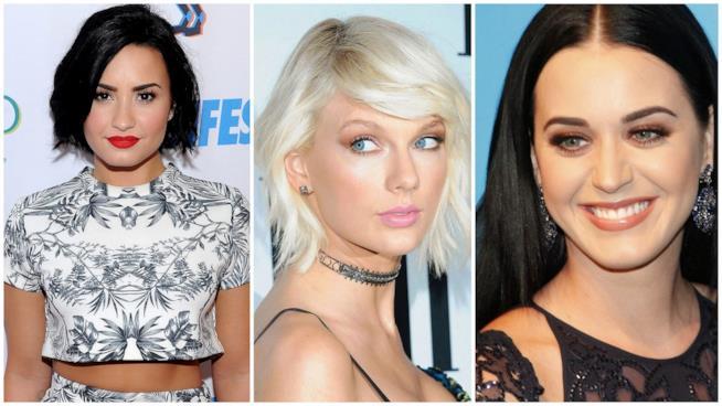 Primo piano di Demi Lovato, Taylor Swift e Katy Perry