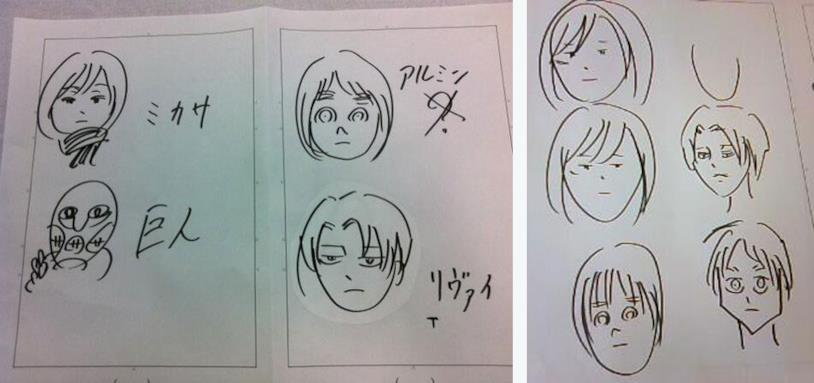Mikasa, Armin, un gigante, Levi ed Eren negli schizzi di Isayama