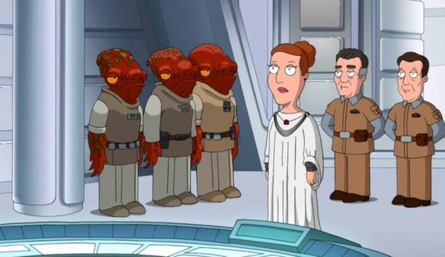 Angela ha il ruolo di Mon Mothma nella parodia di Star Wars fatta da I Griffin