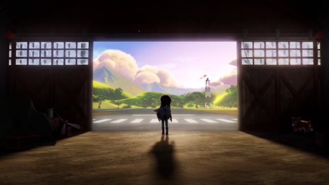 Kit guarda i cieli nella prima immagine di The Rocketeer