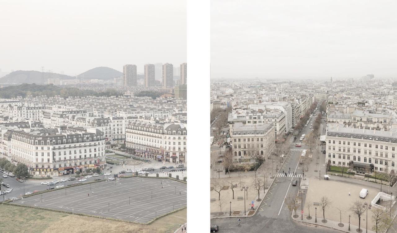 Il panorama di Tianducheng (sinistra) confrontato con quello di Parigi (destra)