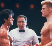 Sylvester Stallone e Dolph Lundgren in una scena di Rocky IV