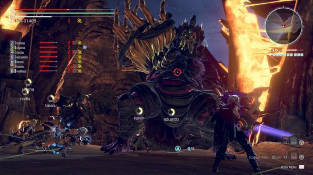 Un'immagine di gioco da una battaglia in God Eater 3
