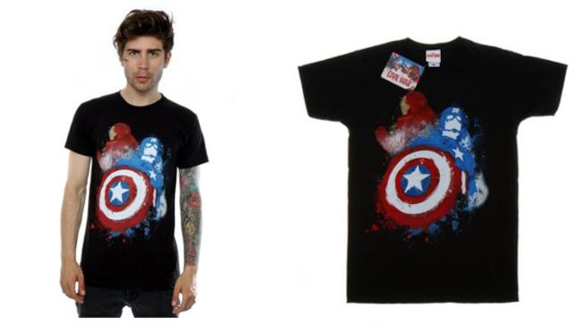 Maglietta Uomo Marvel Captain America Civil War Painted vs Iron Man