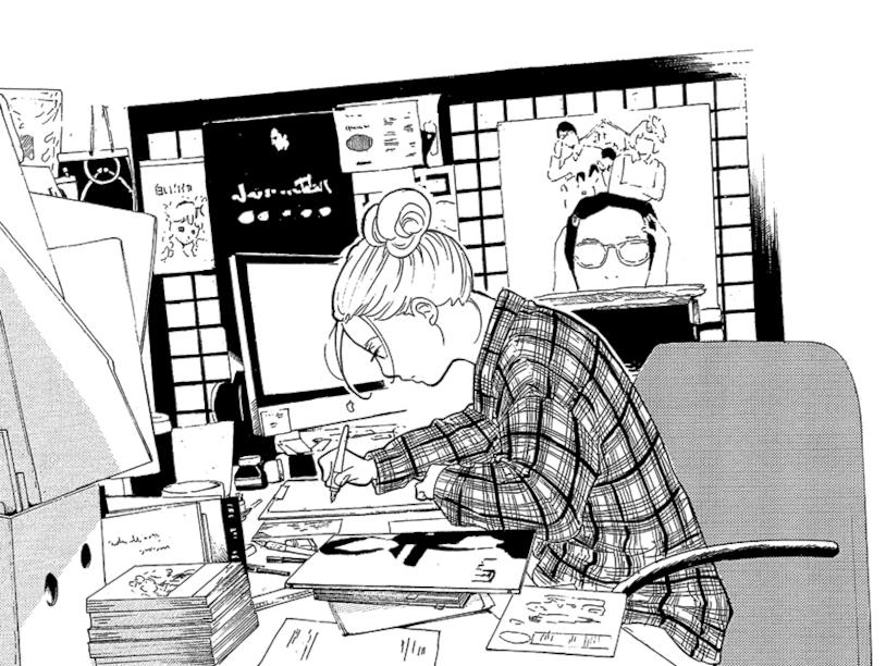 Un dettaglio di una tavola del manga di Higashimura