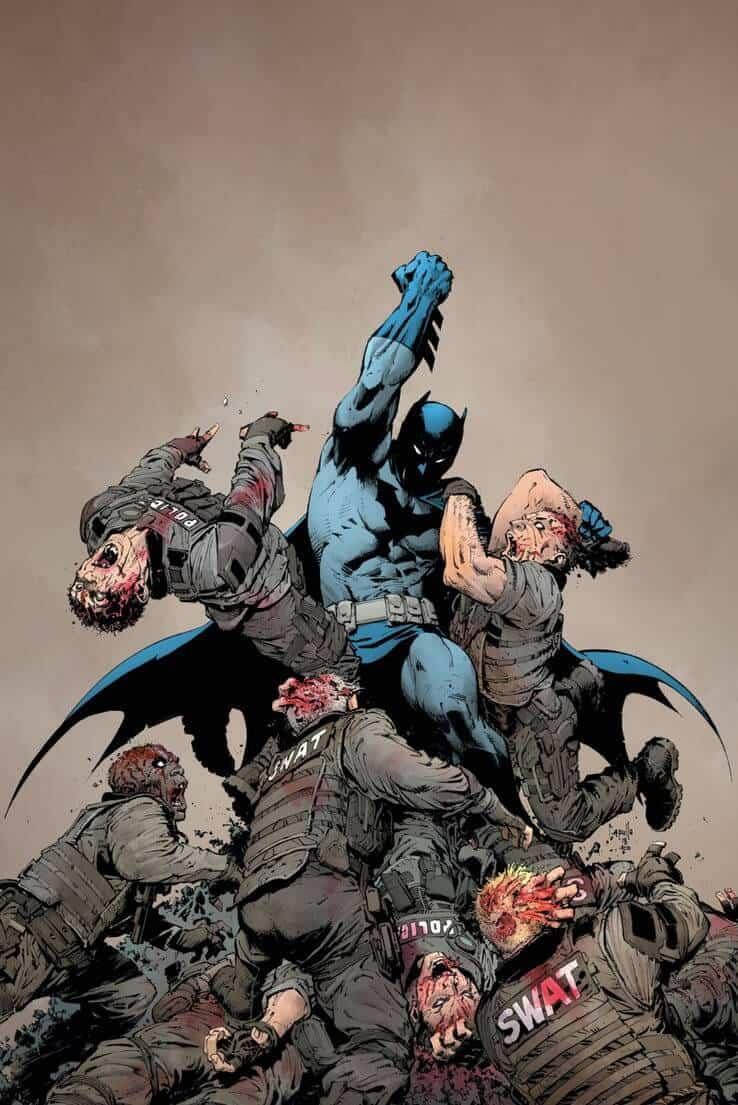 Batman in cima a un capannello di zombie, nella cover disegnata da Greg Capullo