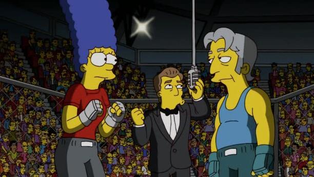 Marge Simpson dentro l'ottagono delle MMA