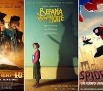 I poster dei film Moschettieri del re, La befana vien di notte, Spider-Man: Un nuovo universo
