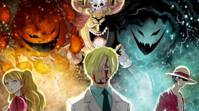 Big Mom gignteggia su Pudding, Sanji e Rufy