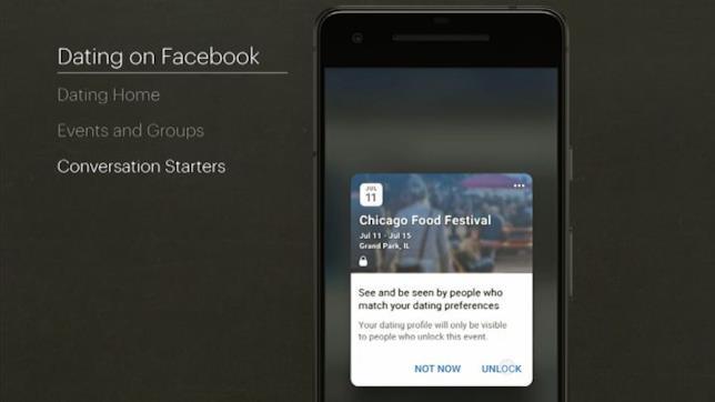 Screen della schermata degli eventi su Facebook Dating