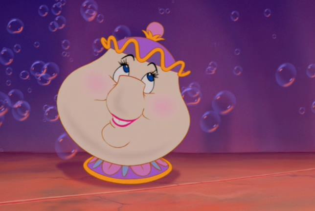 Mrs Bric nel cartone animato de La Bella e la Bestia