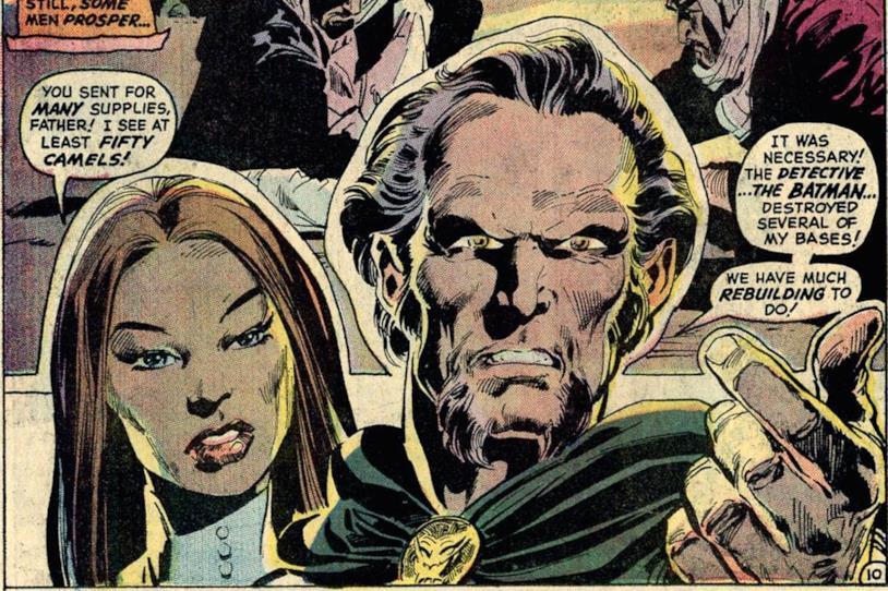 Pagina del fumetto con primi piani di Ra's Al Ghul e la figlia Talia