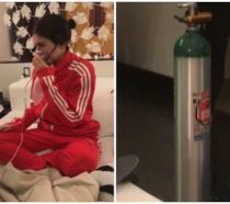 Kylie Jenner su Snapchat con la maschera dell'ossigeno