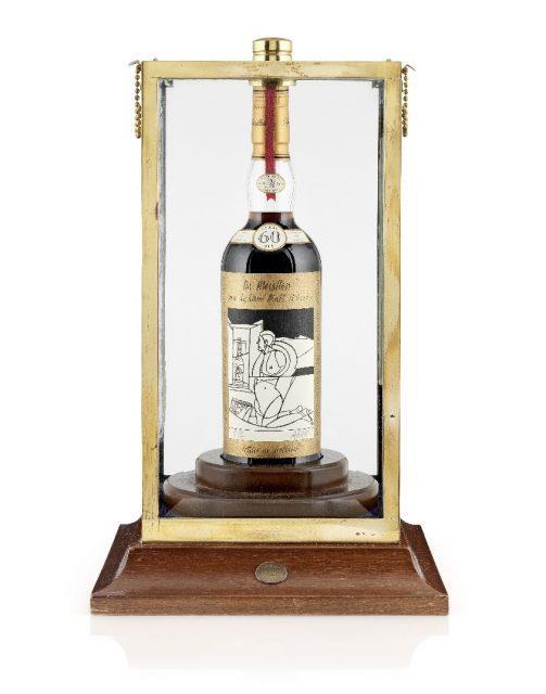 Primo piano della bottiglia di whisky The Macallan Valerio Adami 1926