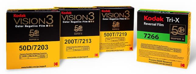 Primo piano dei quattro tipi di cartucce da 8mm adatti per la Kodak Super 8