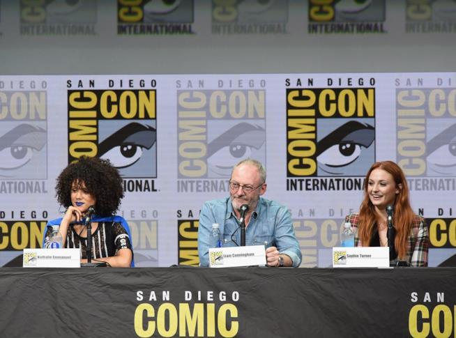 Nathalie Emmanuel, Liam Cunningham e Sophie Turner al San Diego Comic-Con