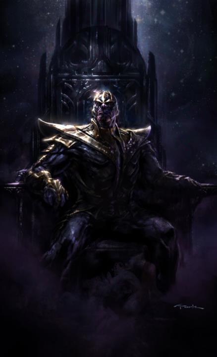 Thanos siede sul suo trono, così come disegnato da Andy Park