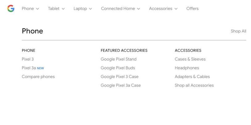 Nell'elenco degli smartphone di Google figurava anche il Pixel 3a