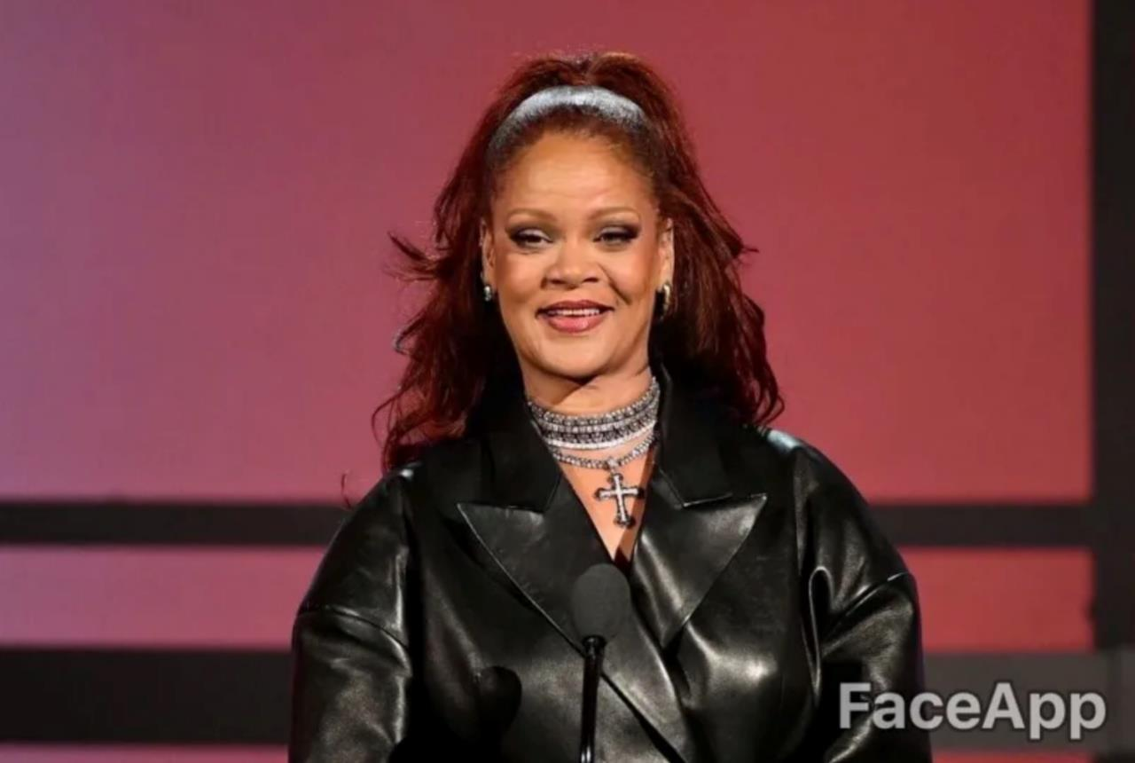 Rihanna in primo piano anziana