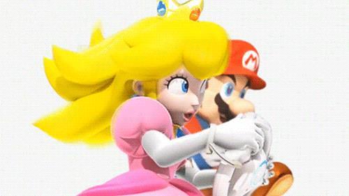 Super Mario e la principessa Peach si sfidano sui kart