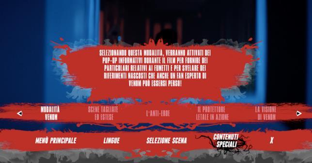Una schermata del menù dei contenuti speciali del Blu-ray di Venom