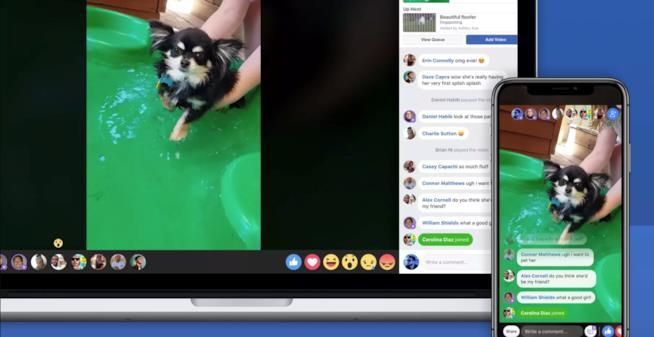 La funzione Watch Party di Facebook in funzione su iPhone e MacBook