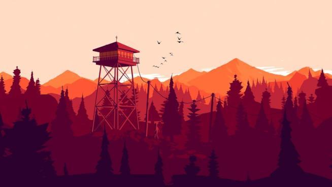 Un concept art di Firewatch, videogioco di Campo Santo in arrivo su Nintendo Switch