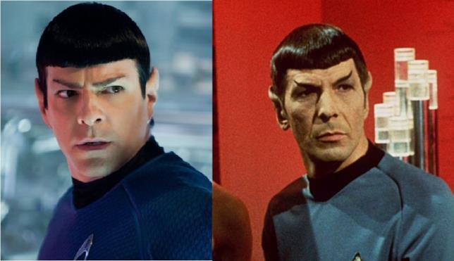 Zachary Quinto e Leonard Nimoy, interpreti di Spock
