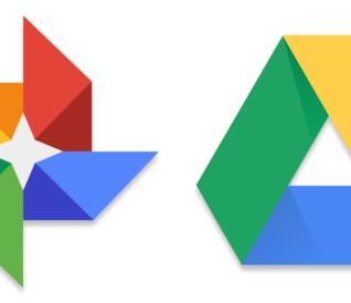 Logo di Google Foto (sinistra) e Google Drive (destra)